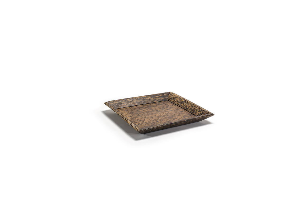 "9.5"" Square Palm Wood Tray"
