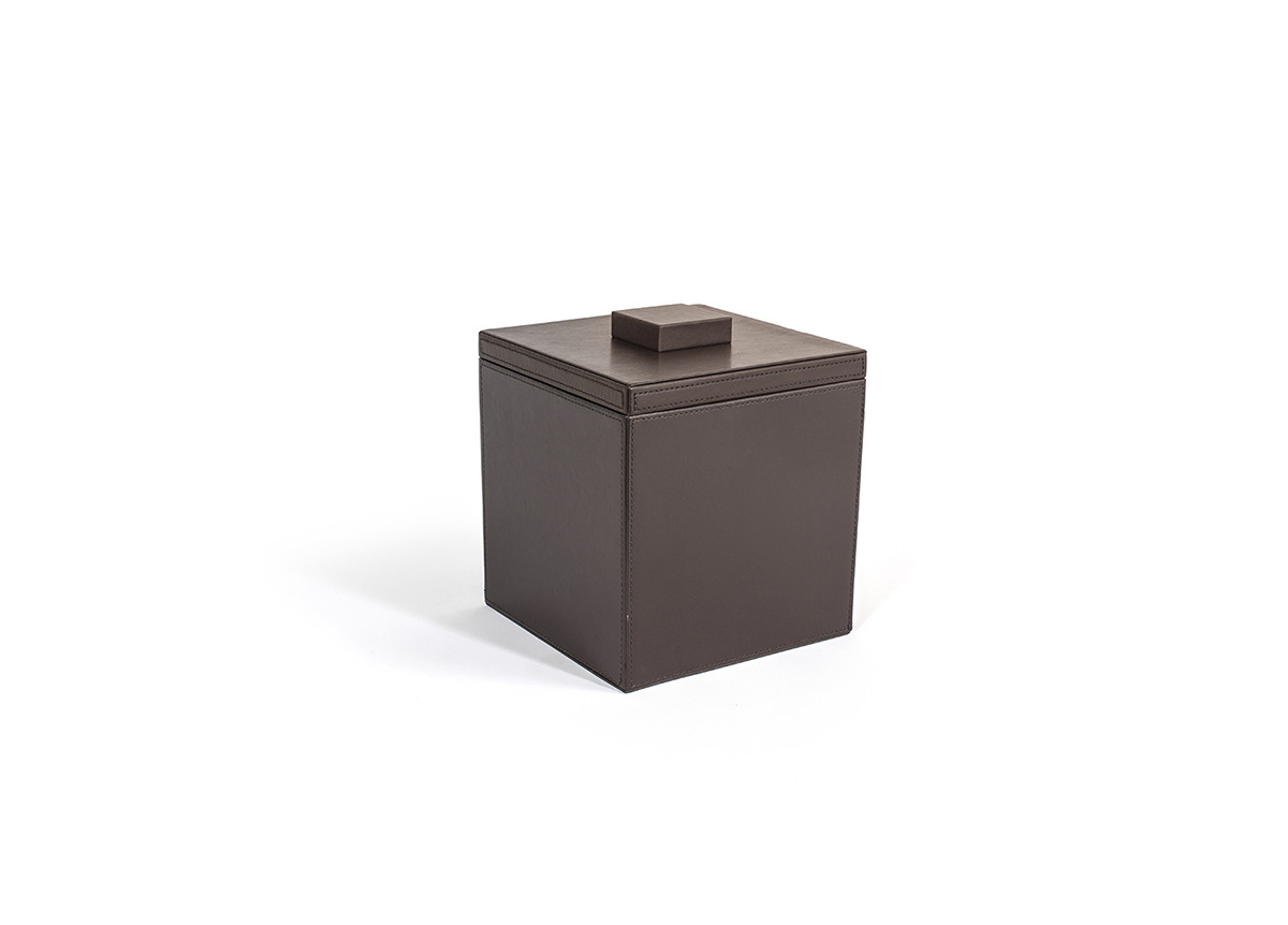 3.5qt Square London Ice Bucket - Brown with Brown Lid
