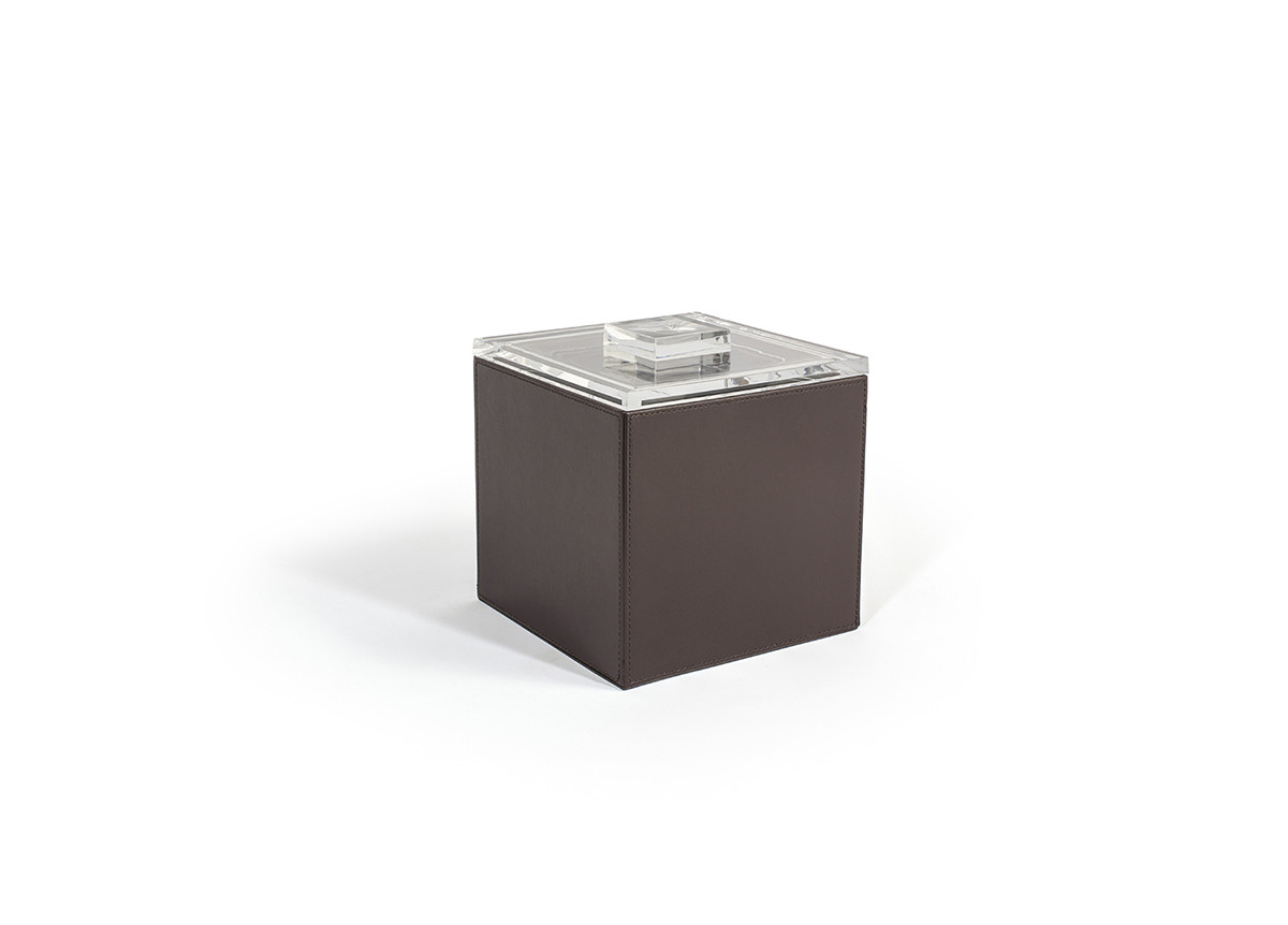 3.5qt Square London Ice Bucket - Brown with Acrylic Lid