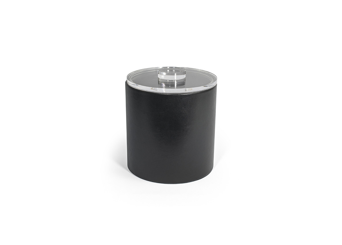 3.5qt Round London Ice Bucket - Black with Acrylic Lid