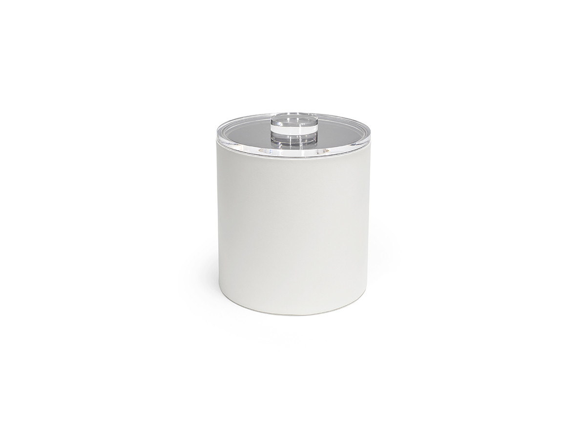3.5qt Round London Ice Bucket - White with Acrylic Lid