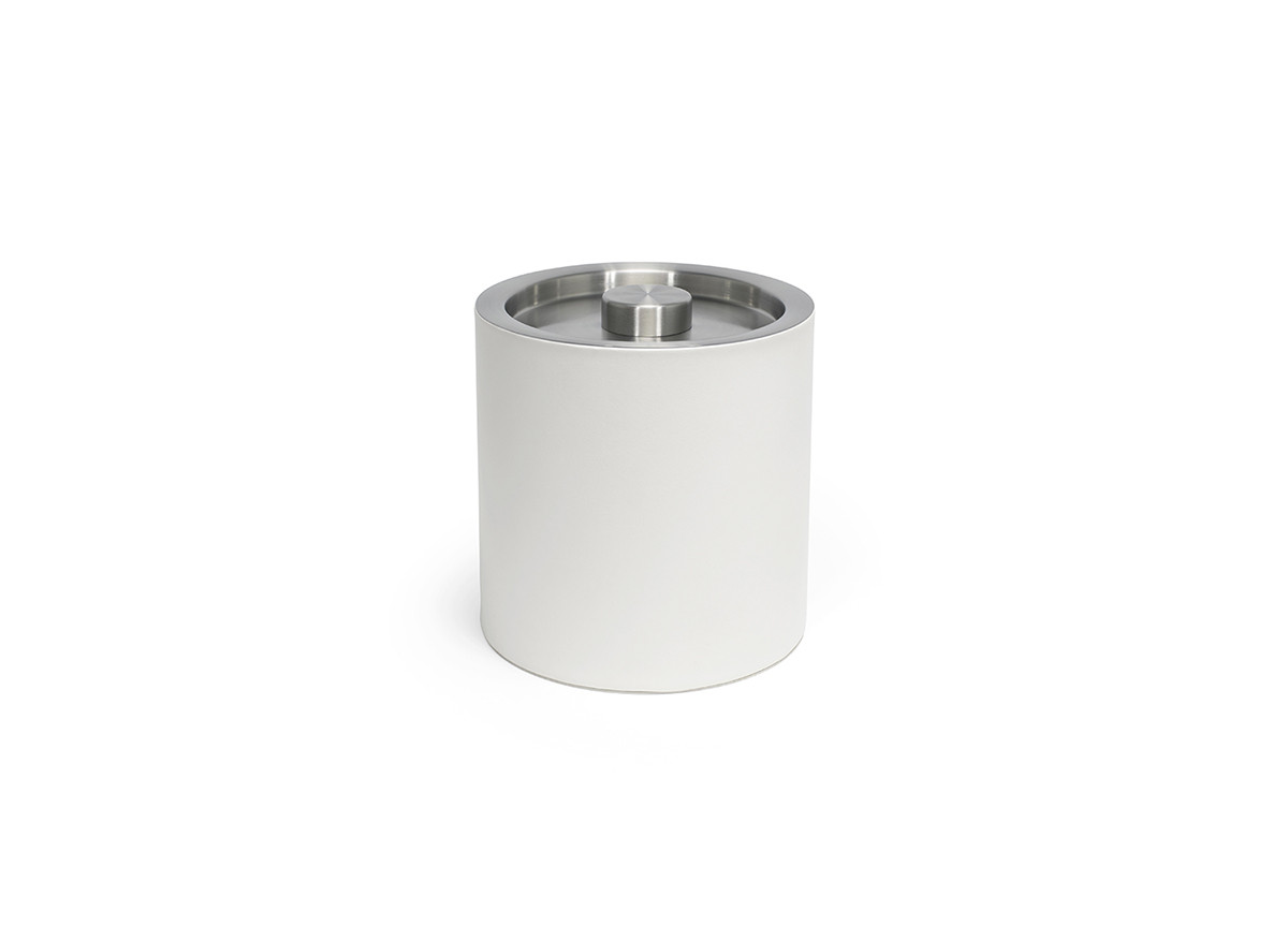 3.5qt Round London Ice Bucket - White with Brushed Stainless Lid
