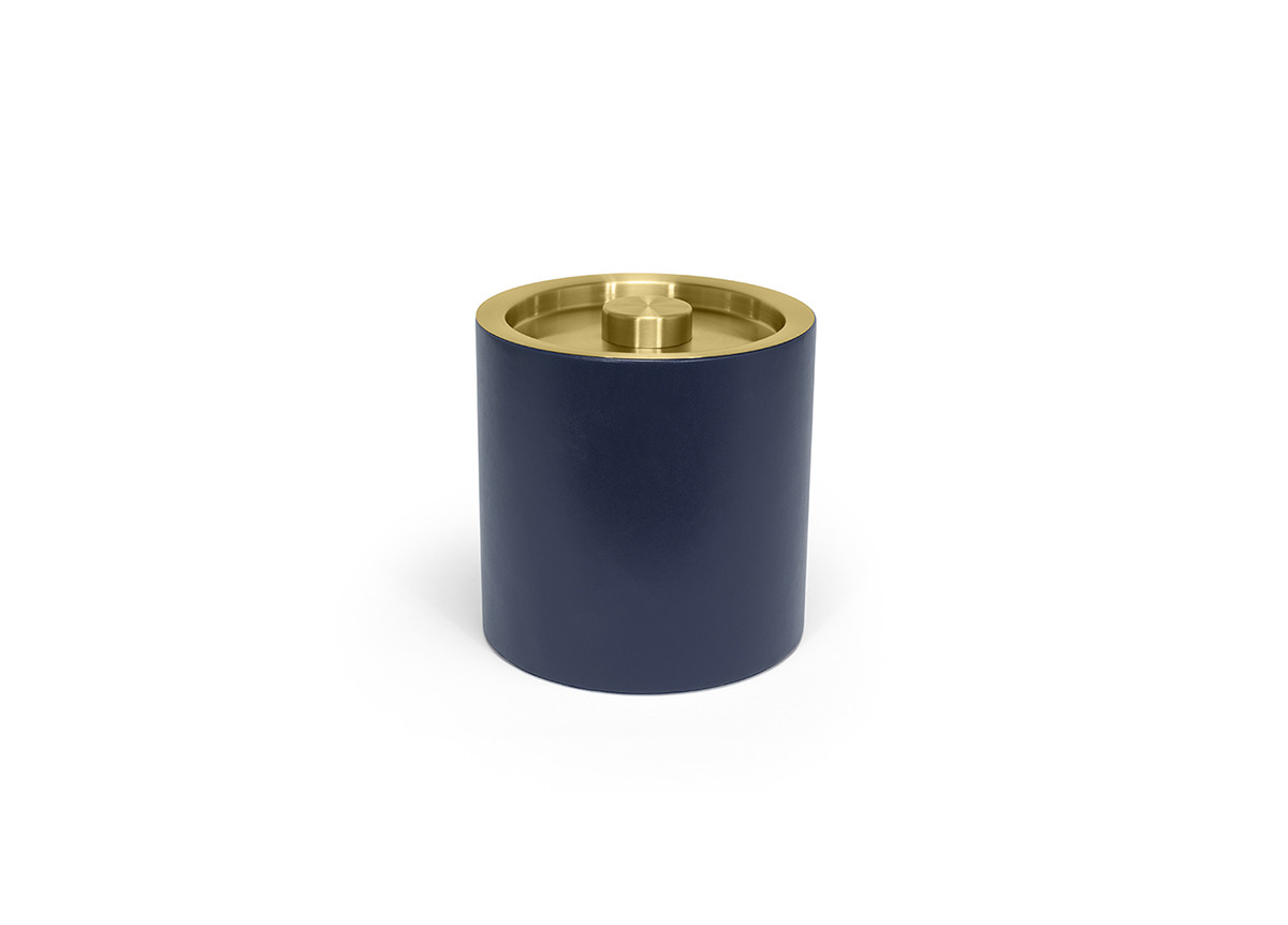3.5qt Round London Ice Bucket - Navy with Matte Brass Lid