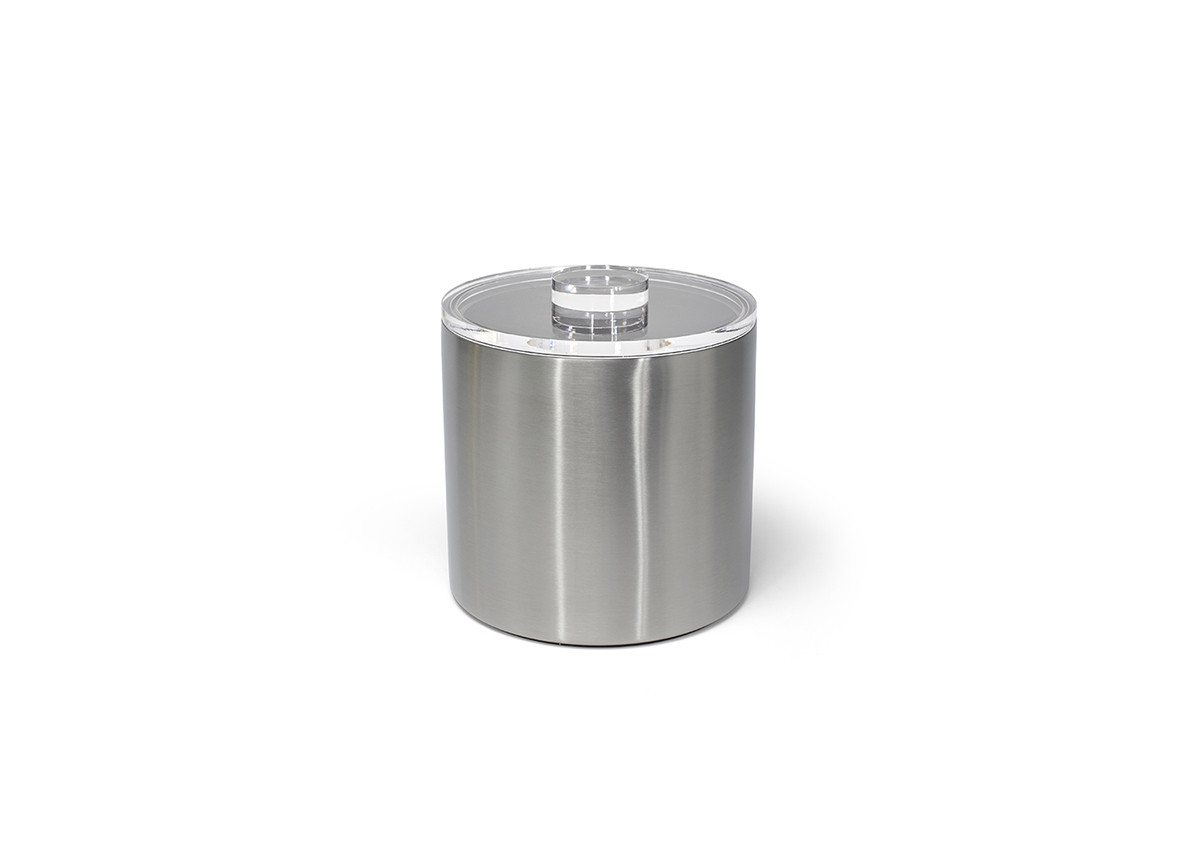3qt Round Brushed Stainless Ice Bucket - Silver with Acrylic Lid