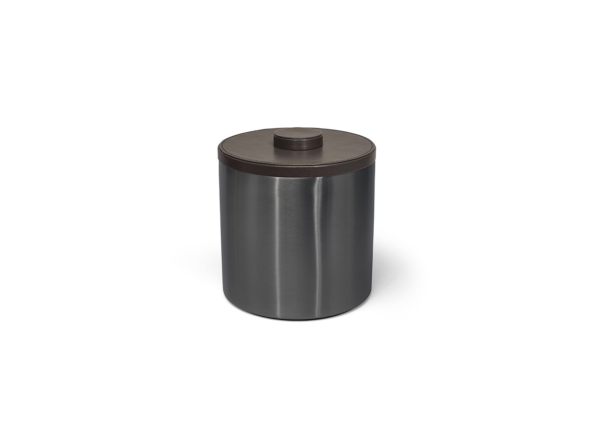 3qt Round Brushed Stainless Ice Bucket - Matte Black with Brown Lid
