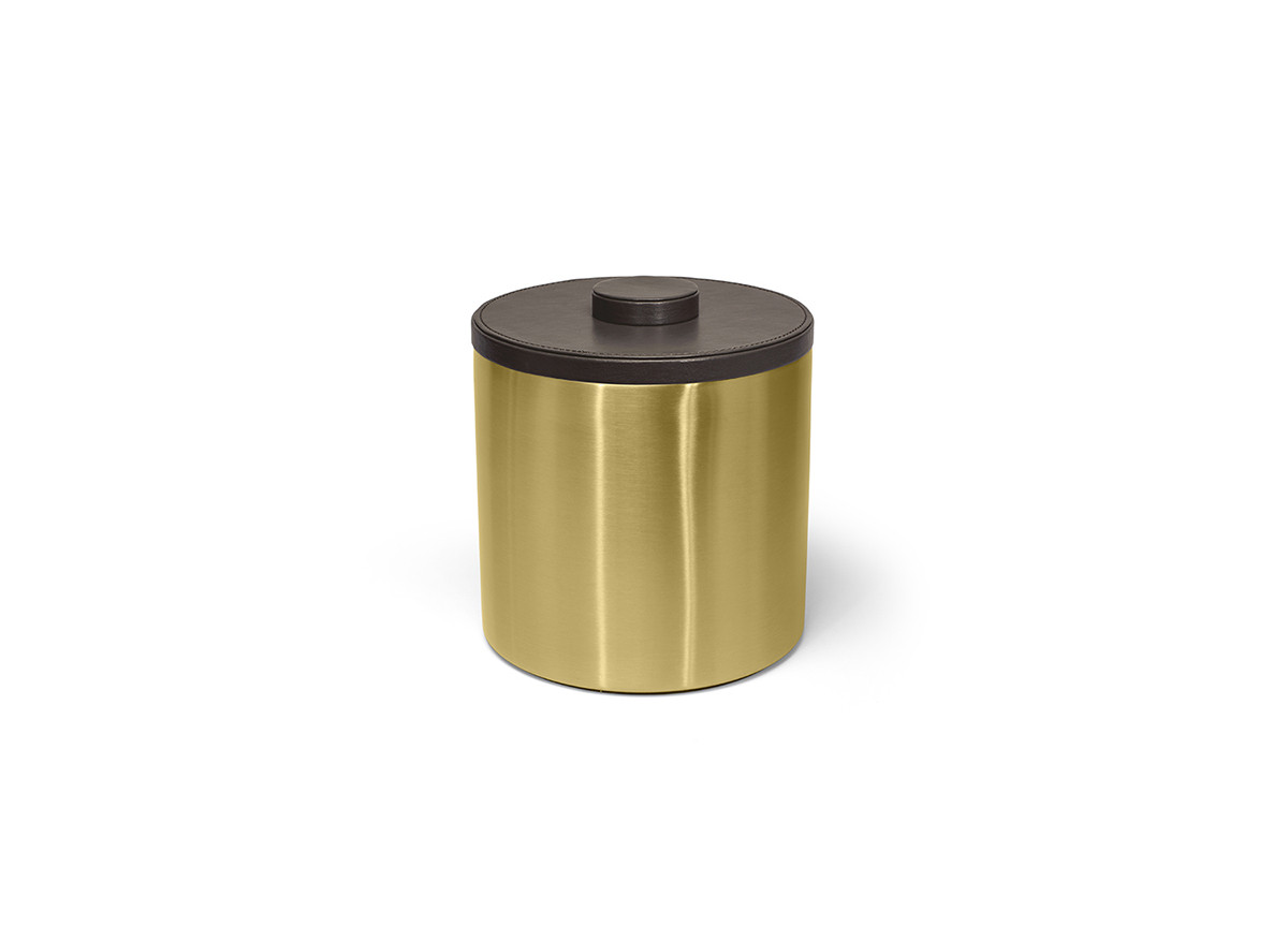 3qt Round Brushed Stainless Ice Bucket - Matte Brass with Brown Lid