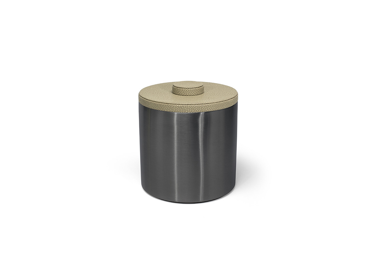 3qt Round Brushed Stainless Ice Bucket - Matte Black with Dune Lid