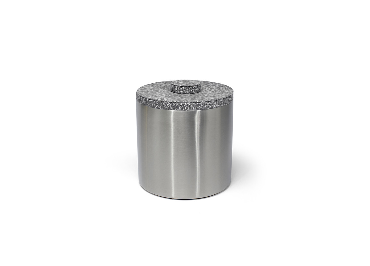 3qt Round Brushed Stainless Ice Bucket - Silver with Belize Smoke Lid