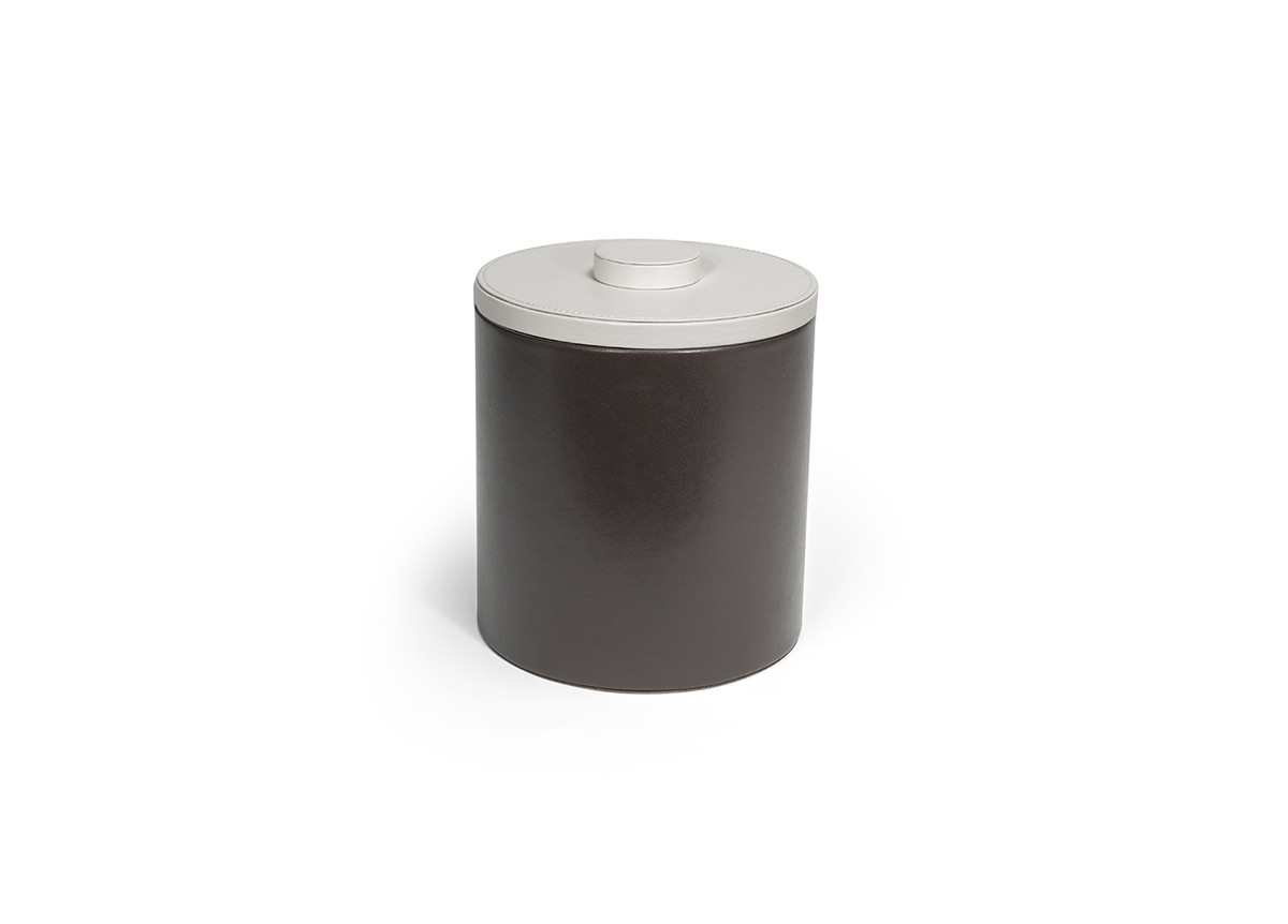 3.5qt Round London Ice Bucket - Brown with White Lid