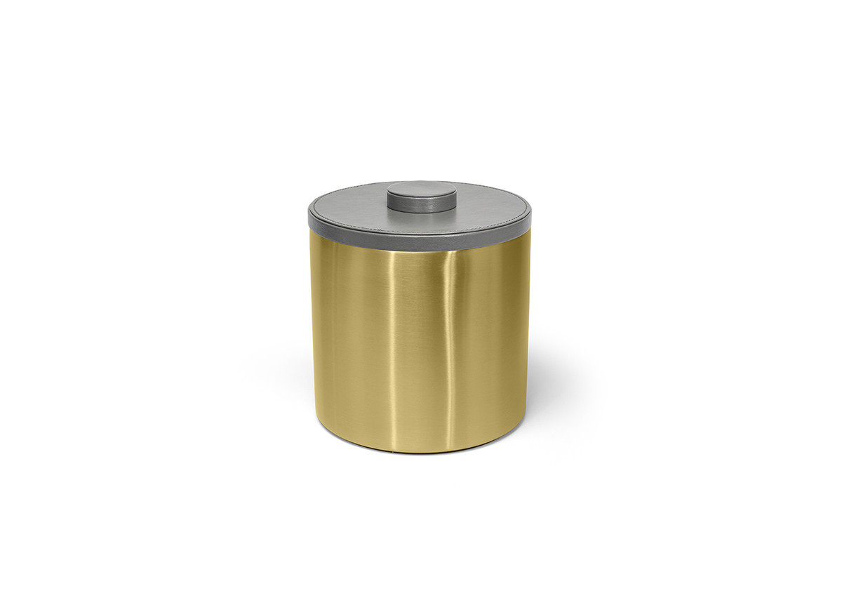 3qt Brushed Stainless Ice Bucket - Matte Brass with London Smoke Lid