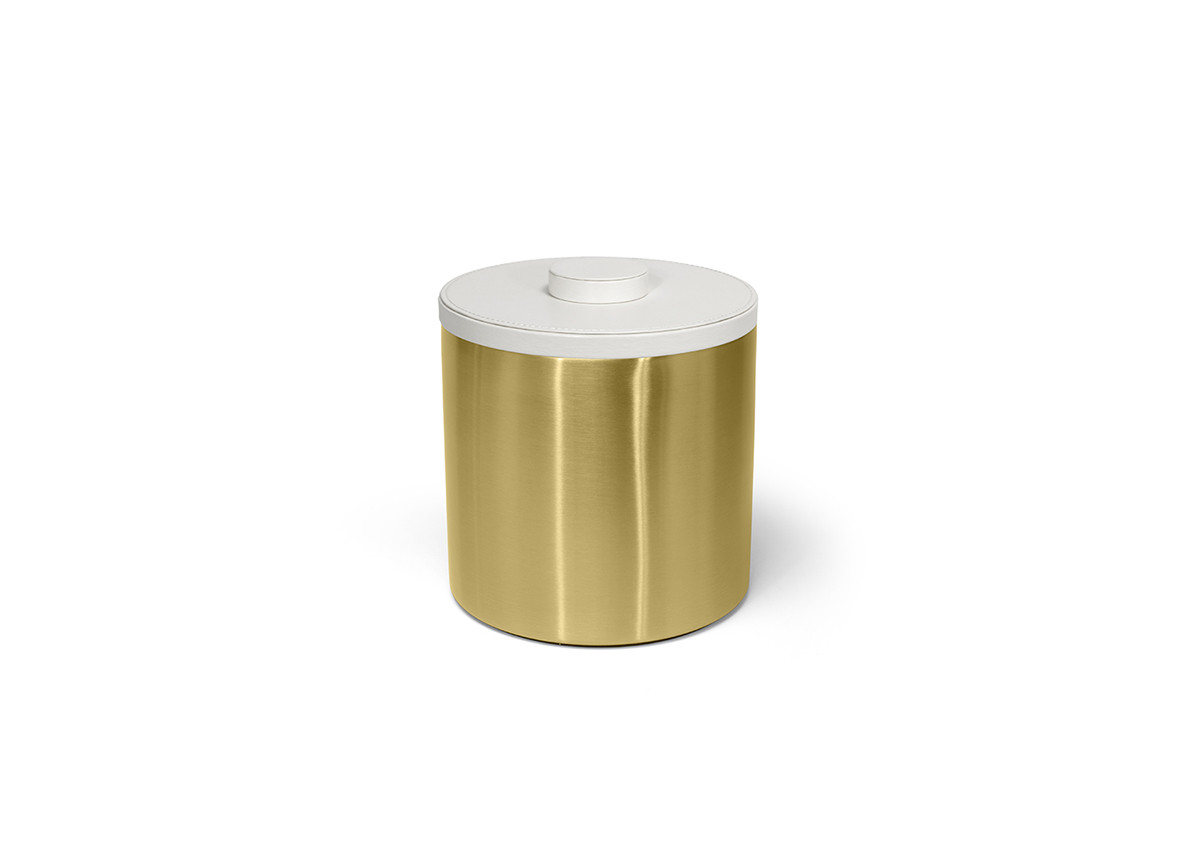 3qt Brushed Stainless Ice Bucket - Matte Brass with London White Lid