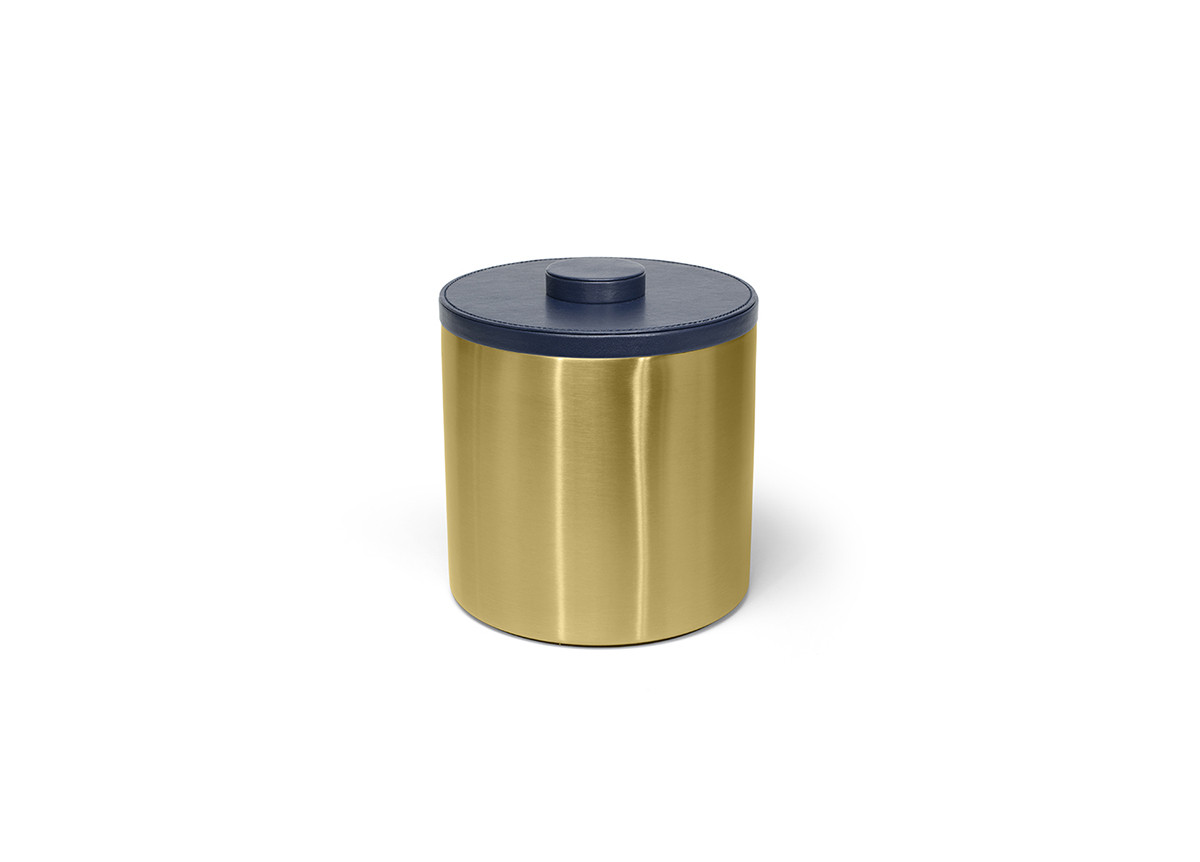 3qt Brushed Stainless Ice Bucket - Matte Brass with London Navy Lid