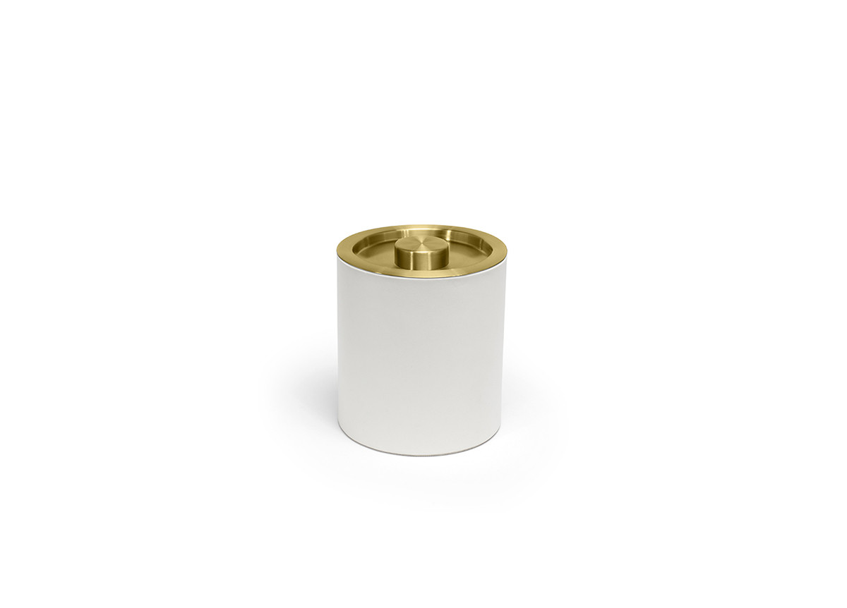 2qt Round London Ice Bucket - White with Matte Brass Lid