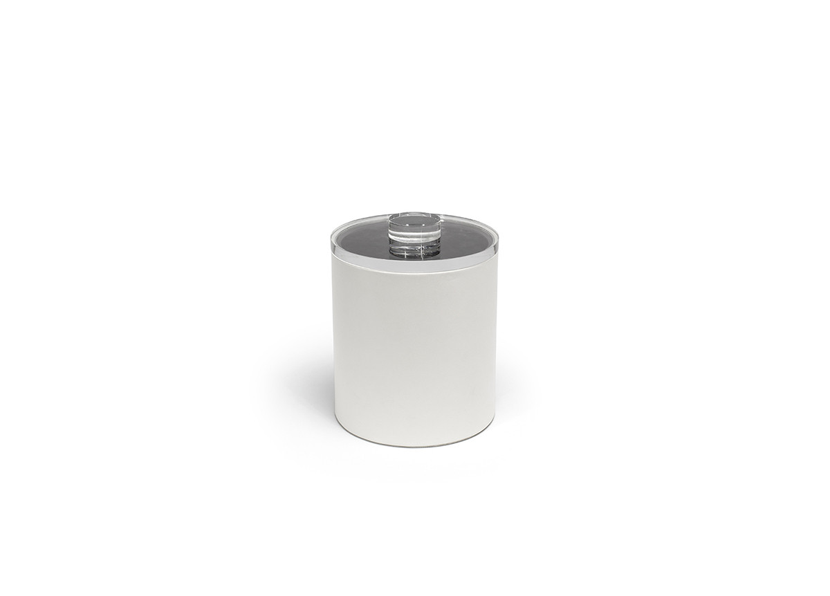 2qt Round London Ice Bucket - White with Acrylic Lid