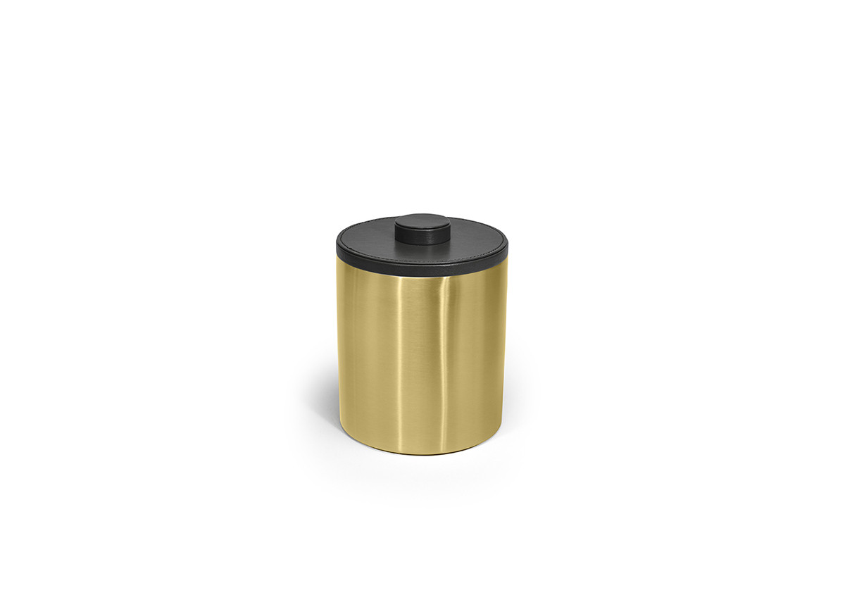 2qt Brushed Stainless Ice Bucket - Matte Brass with London Black Lid