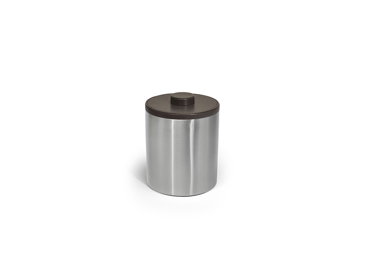 2qt Brushed Stainless Ice Bucket - Silver with London Brown Lid