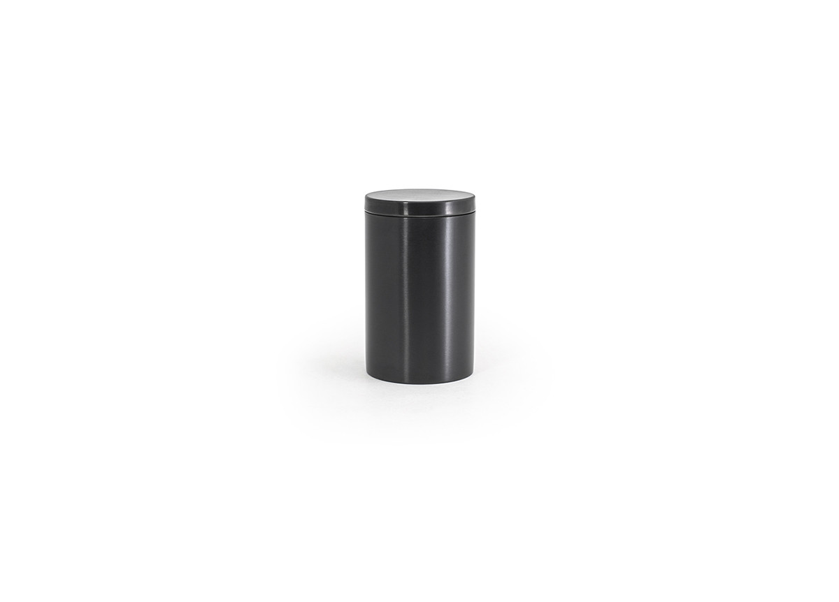 Brushed Stainless Jar with Lid - Matte Black with Matte Black Lid