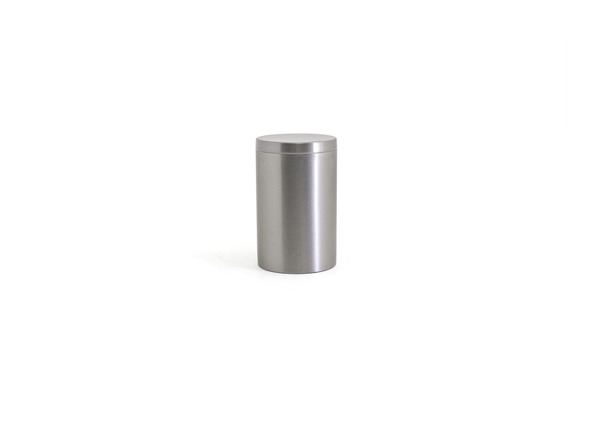 Brushed Stainless Jar with Lid - Silver with Silver Lid