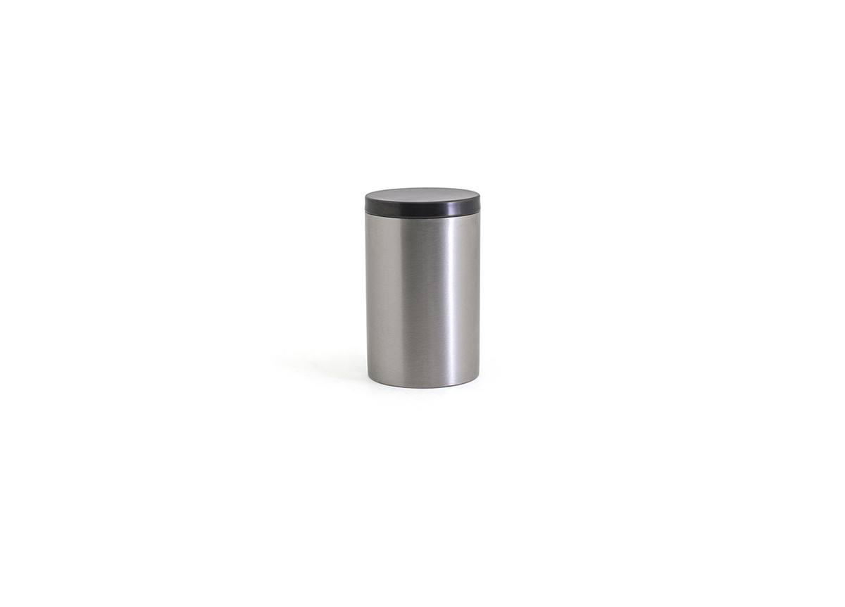 Brushed Stainless Jar with Lid - Silver with Matte Black Lid