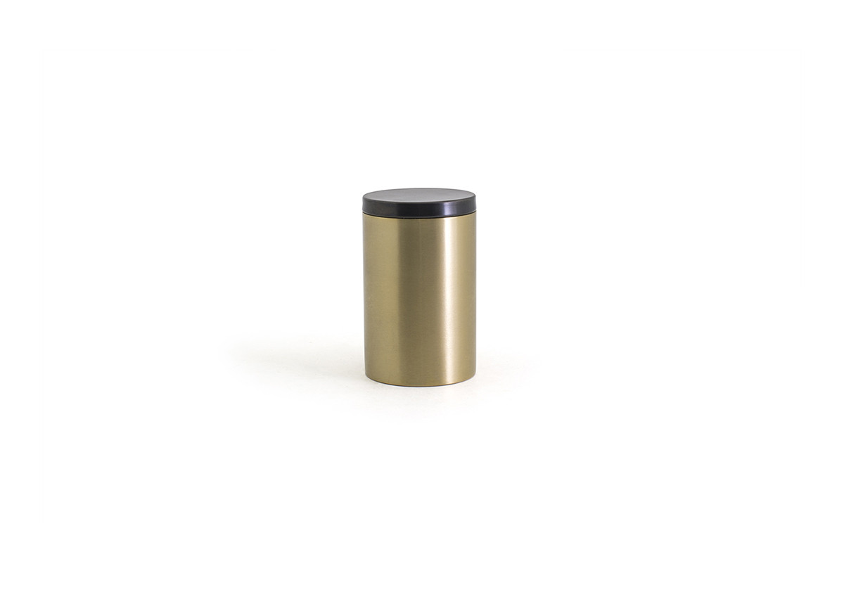 Brushed Stainless Jar with Lid - Matte Brass with Matte Black Lid
