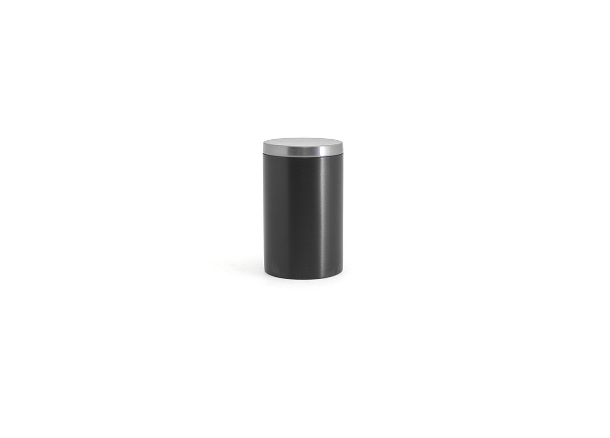 Brushed Stainless Jar with Lid - Matte Black with Silver Lid