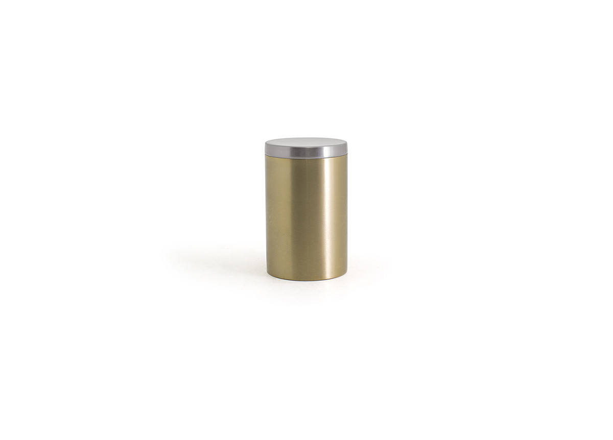 Brushed Stainless Jar with Lid - Matte Brass with Silver Lid
