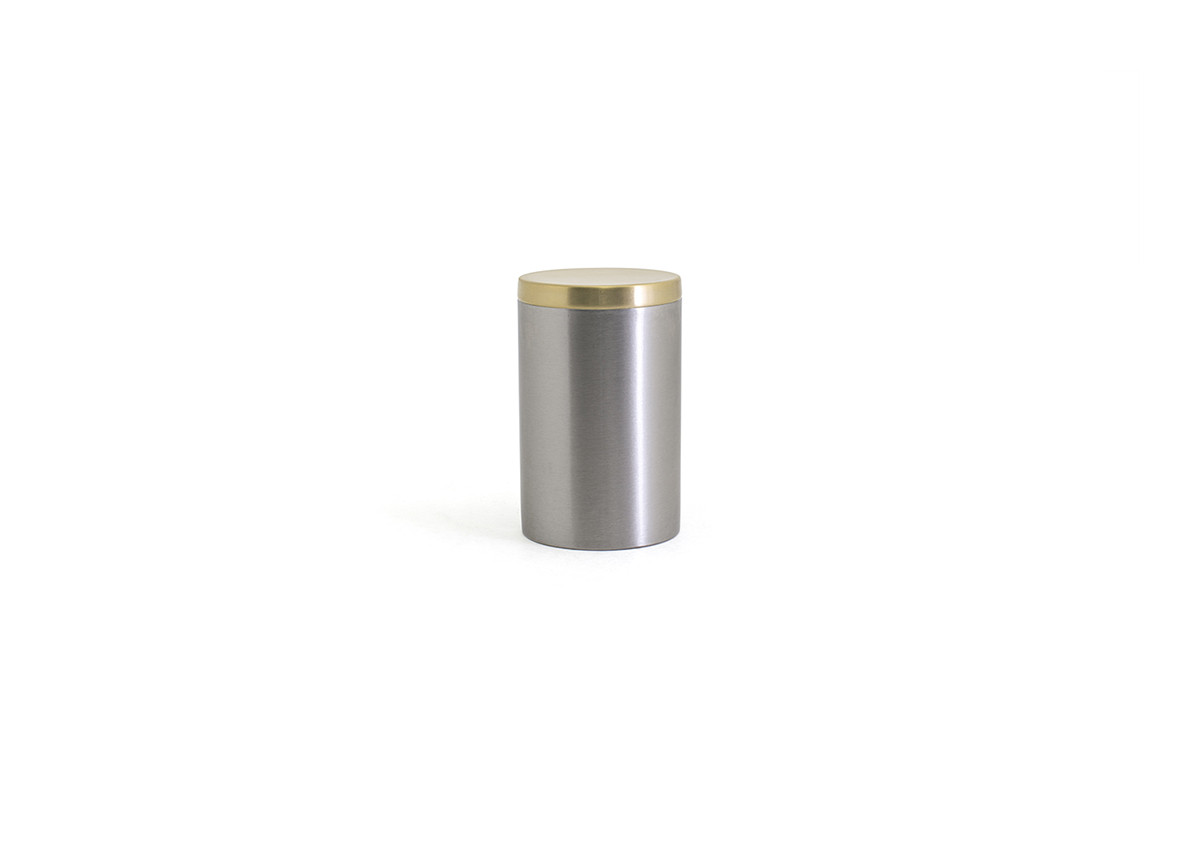 Brushed Stainless Jar with Lid - Silver with Matte Brass Lid