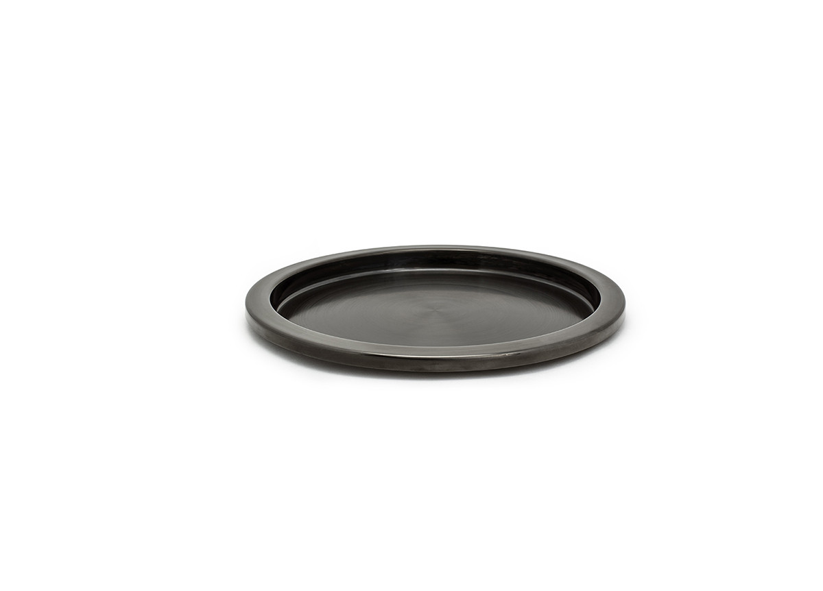 """14"""" Round Brushed Stainless Tray - Matte Black"""