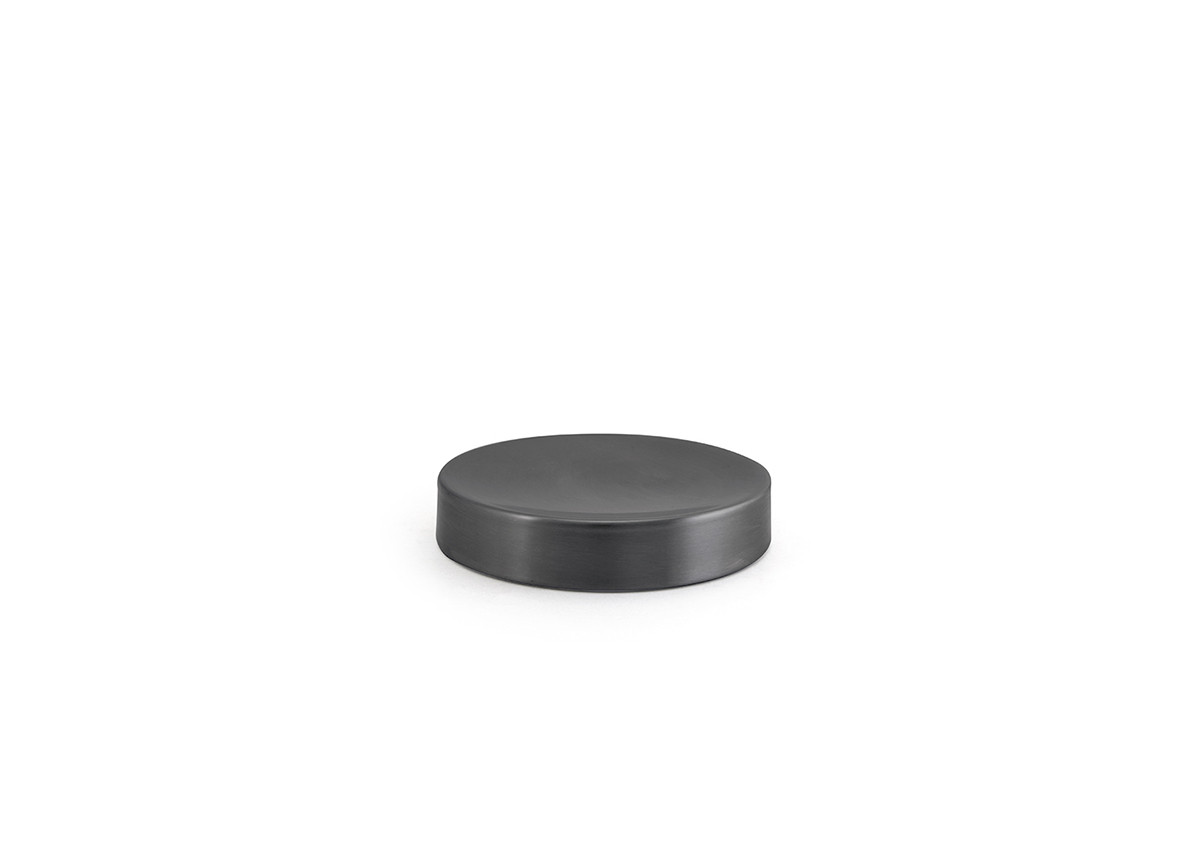 "4.25"" Round Brushed Stainless Soap Dish - Matte Black"