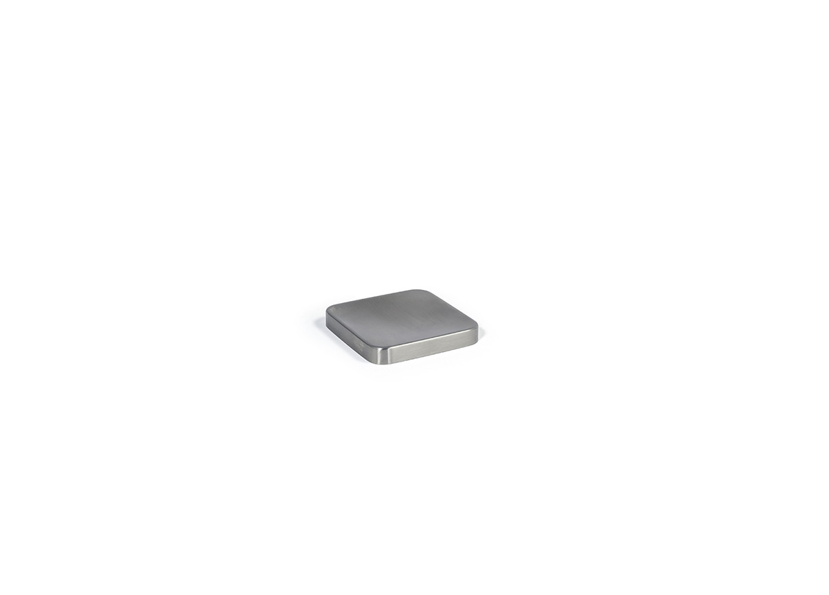 "4"" Square Brushed Stainless Soap Dish - Silver"