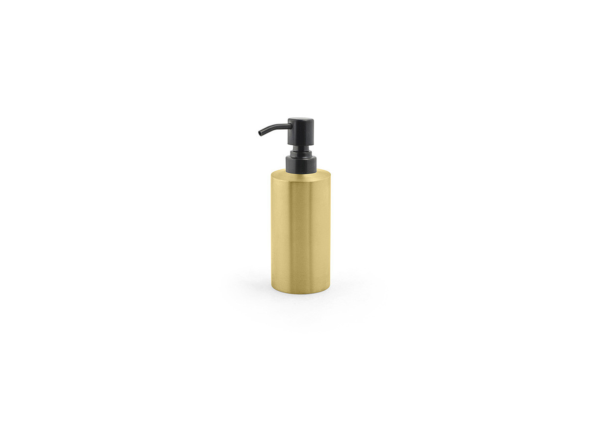 12oz Brushed Stainless Pump - Matte Brass with Matte Black Top