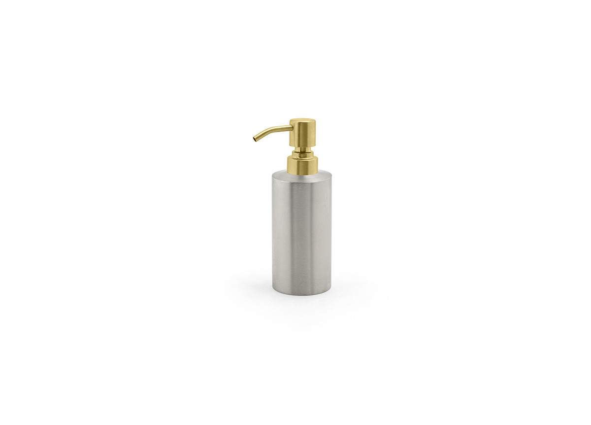 12oz Brushed Stainless Pump - Silver with Matte Brass Top