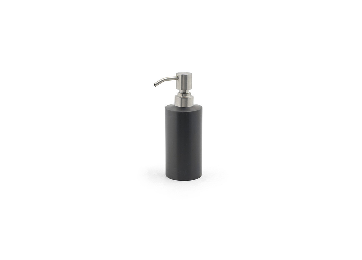 12oz Brushed Stainless Pump - Matte Black with Brushed Top