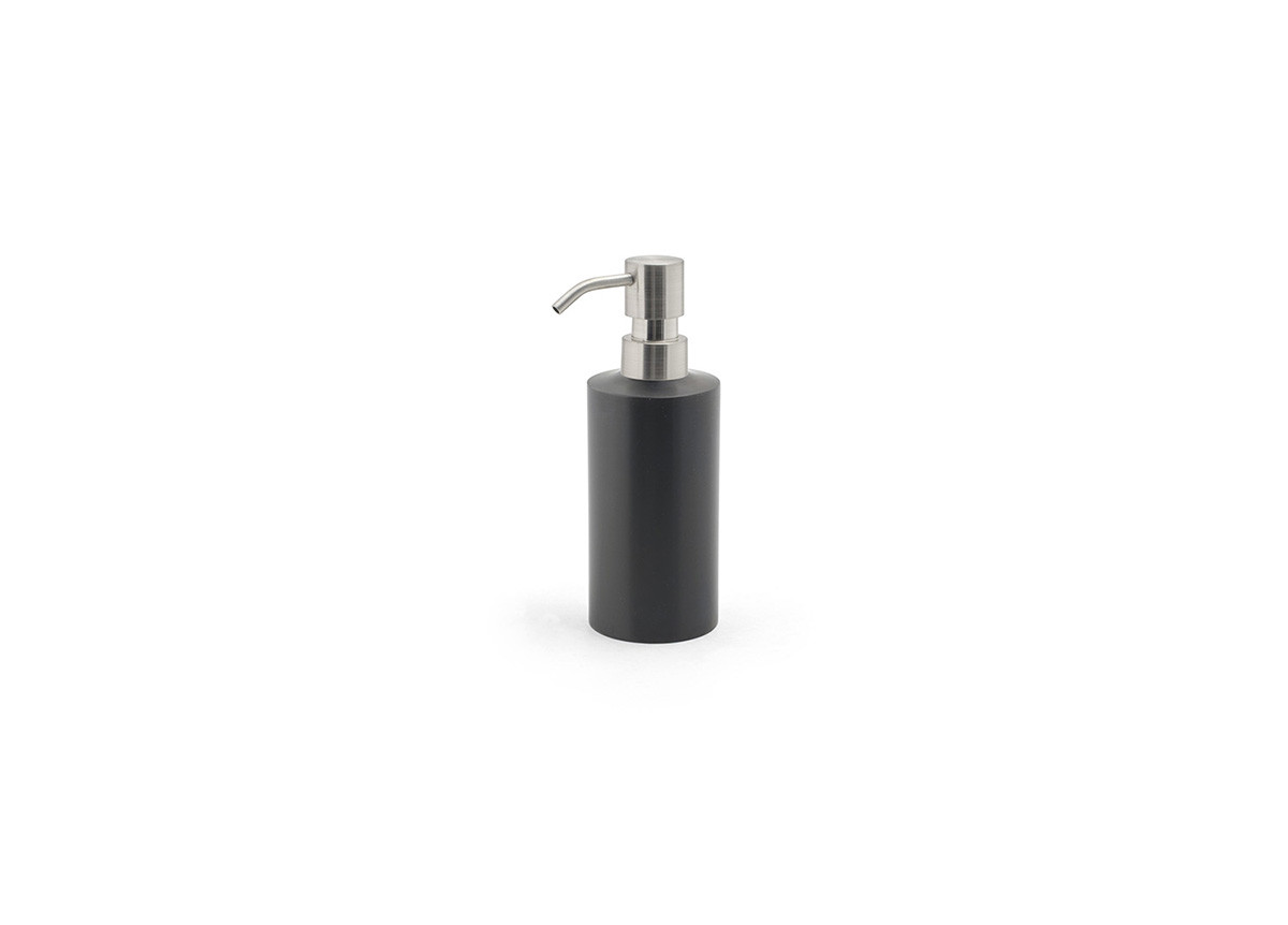 12oz Brushed Stainless Pump - Matte Black with Mirrored Top