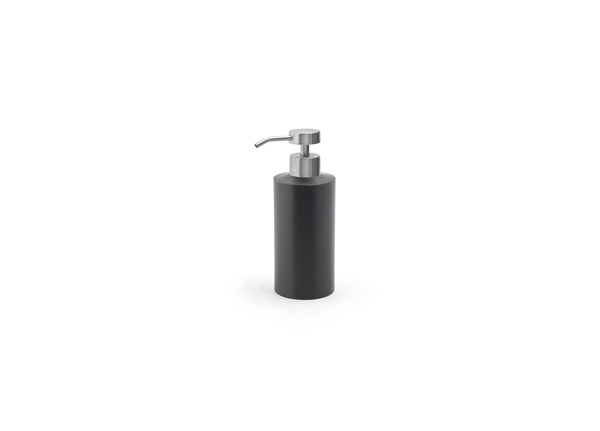 12oz Brushed Stainless Pump - Matte Black with Low Profile Brushed Top