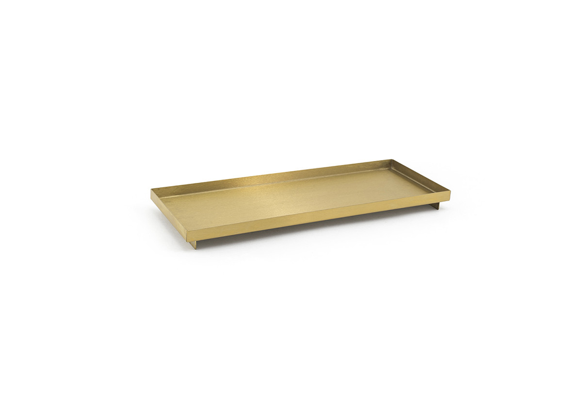 """12.25"""" x 4.75"""" Brushed Stainless Amenity Tray - Matte Brass"""