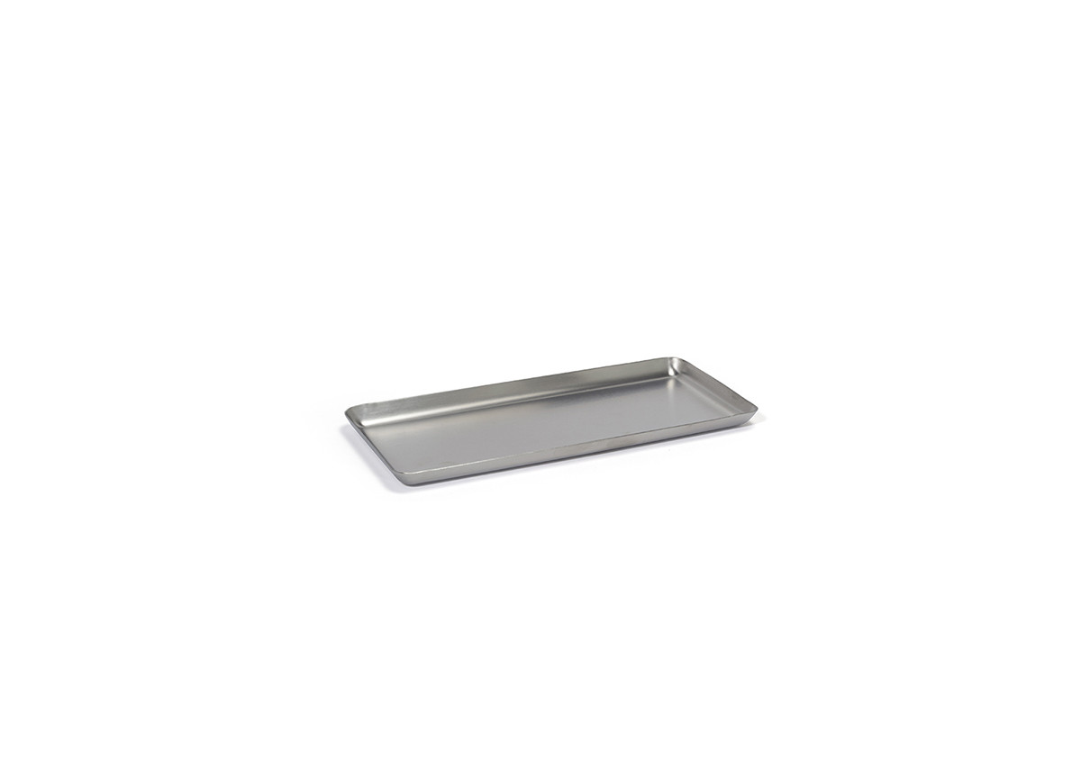 "10"" x 4.5"" Brushed Stainless Amenity Tray - Silver"