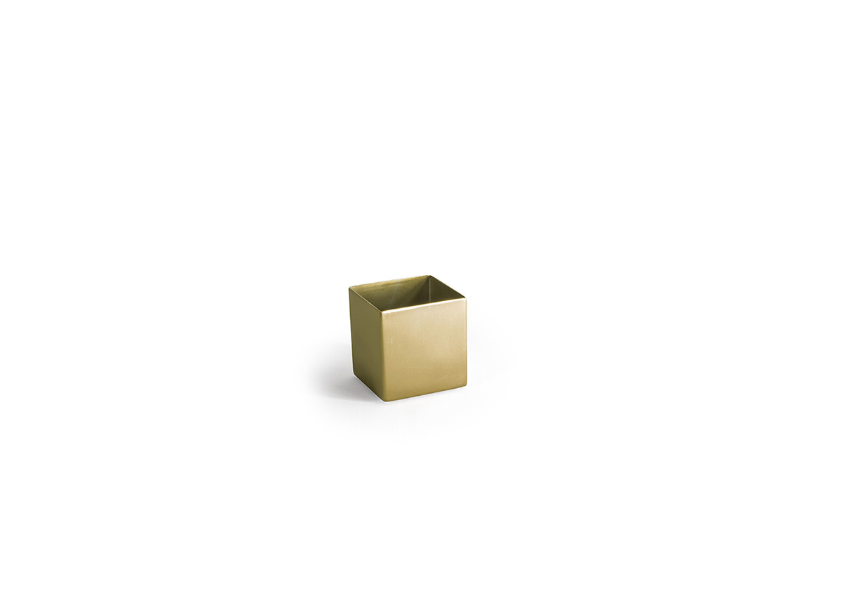 7oz Square Brushed Stainless Holder - Matte Brass