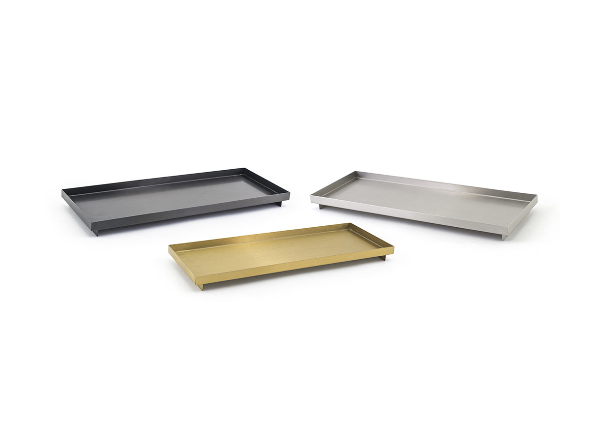 Rectangle Stainless Steel Footed Tray