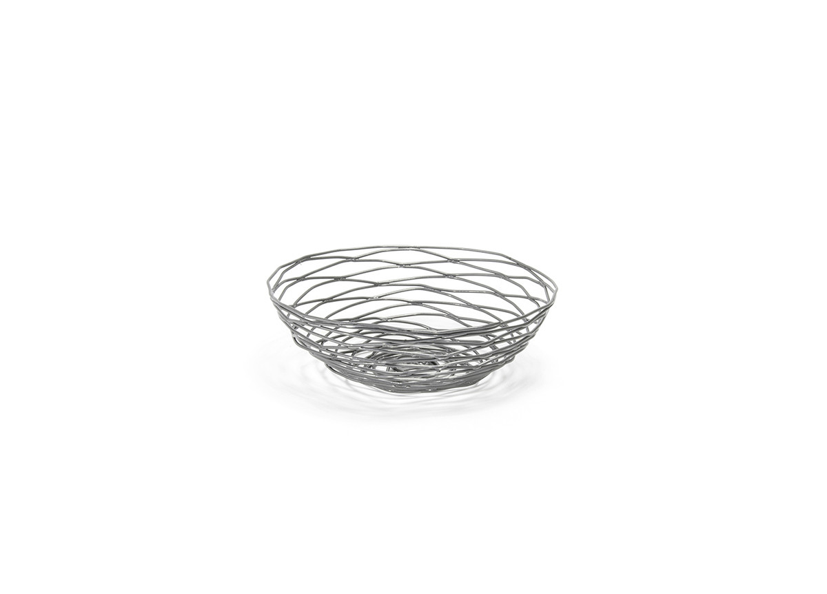 "8"" Round Pewter Basket"