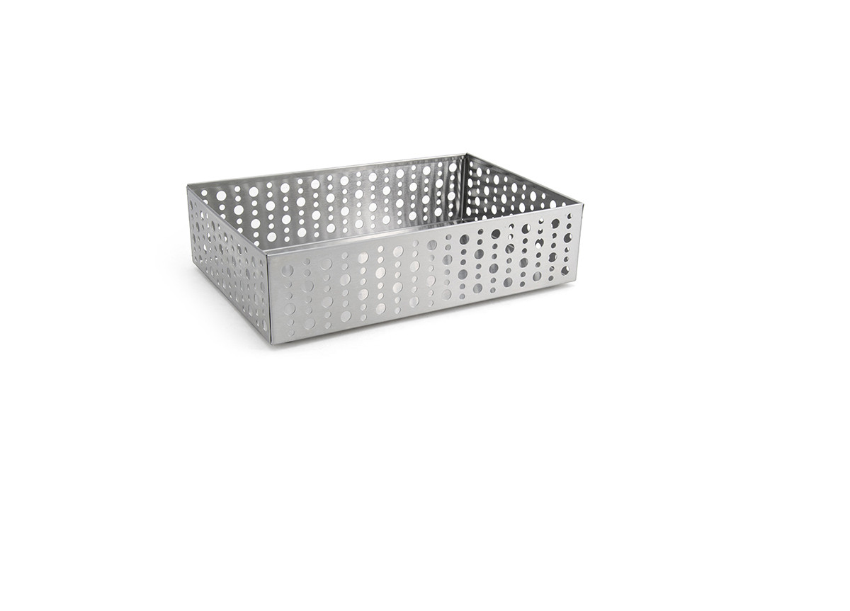 """9"""" x 6"""" Brushed Stainless Dots Holder - Silver"""