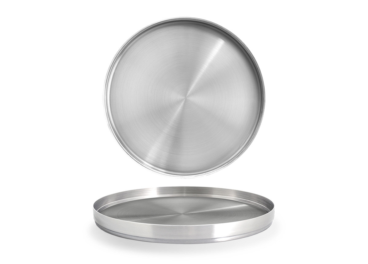 "11"" Round Brushed Stainless Soho Tray - Silver"