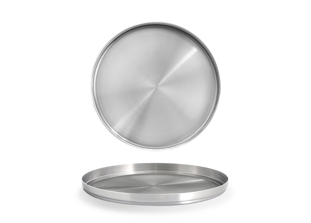 "9"" Round Brushed Stainless Soho Tray - Silver"