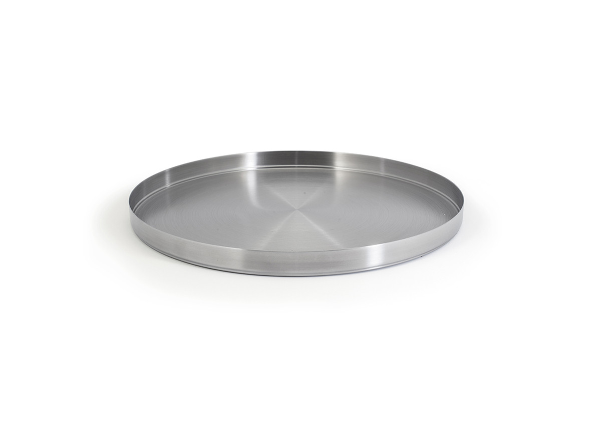 "12.25"" Round Brushed Stainless Canvas Tray - Silver"
