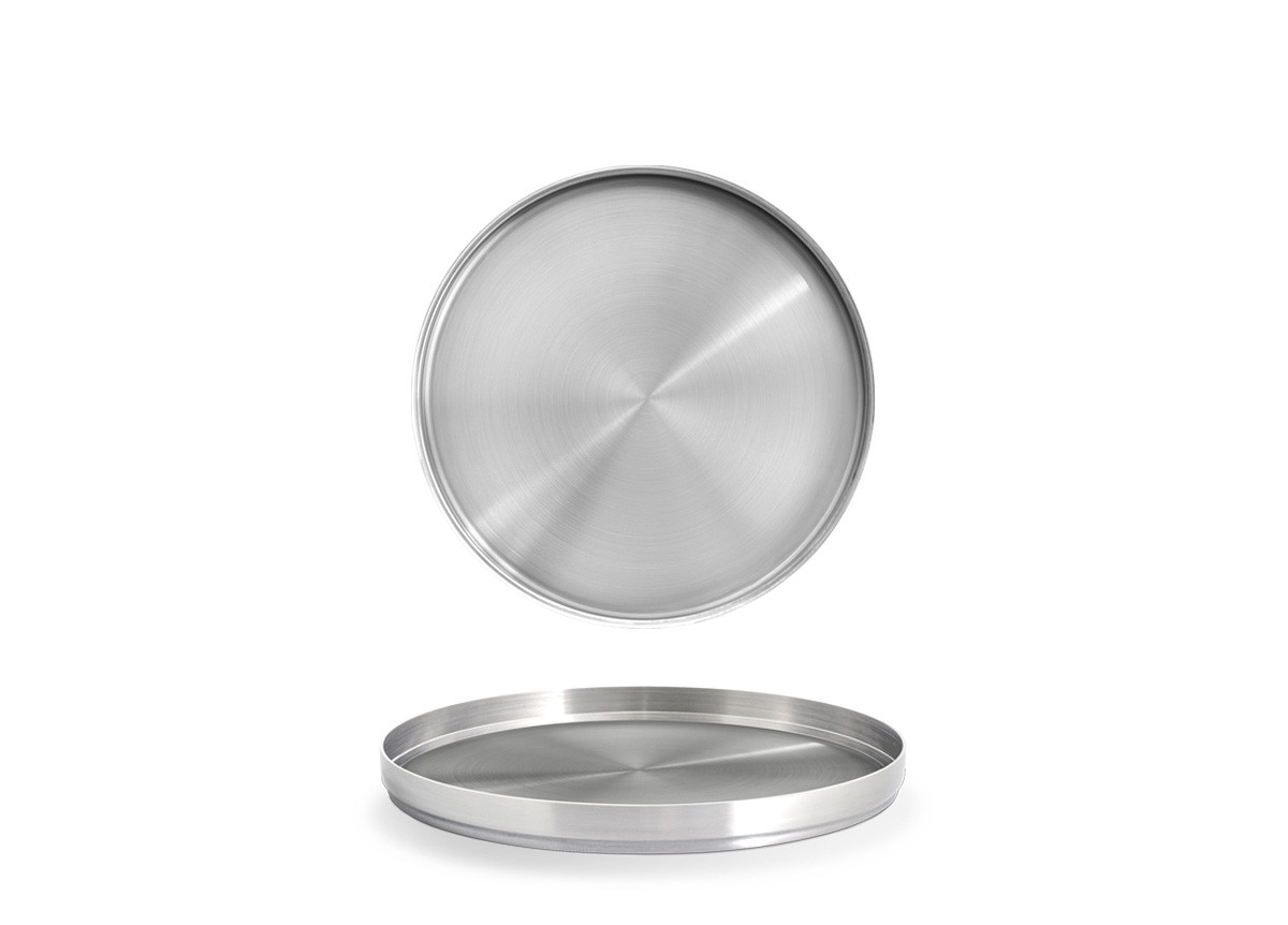 "7.5"" Round Brushed Stainless Soho Tray - Silver"