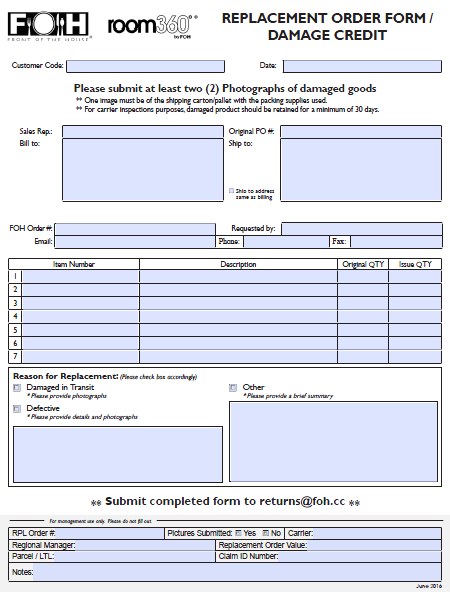 Replacement Order Form