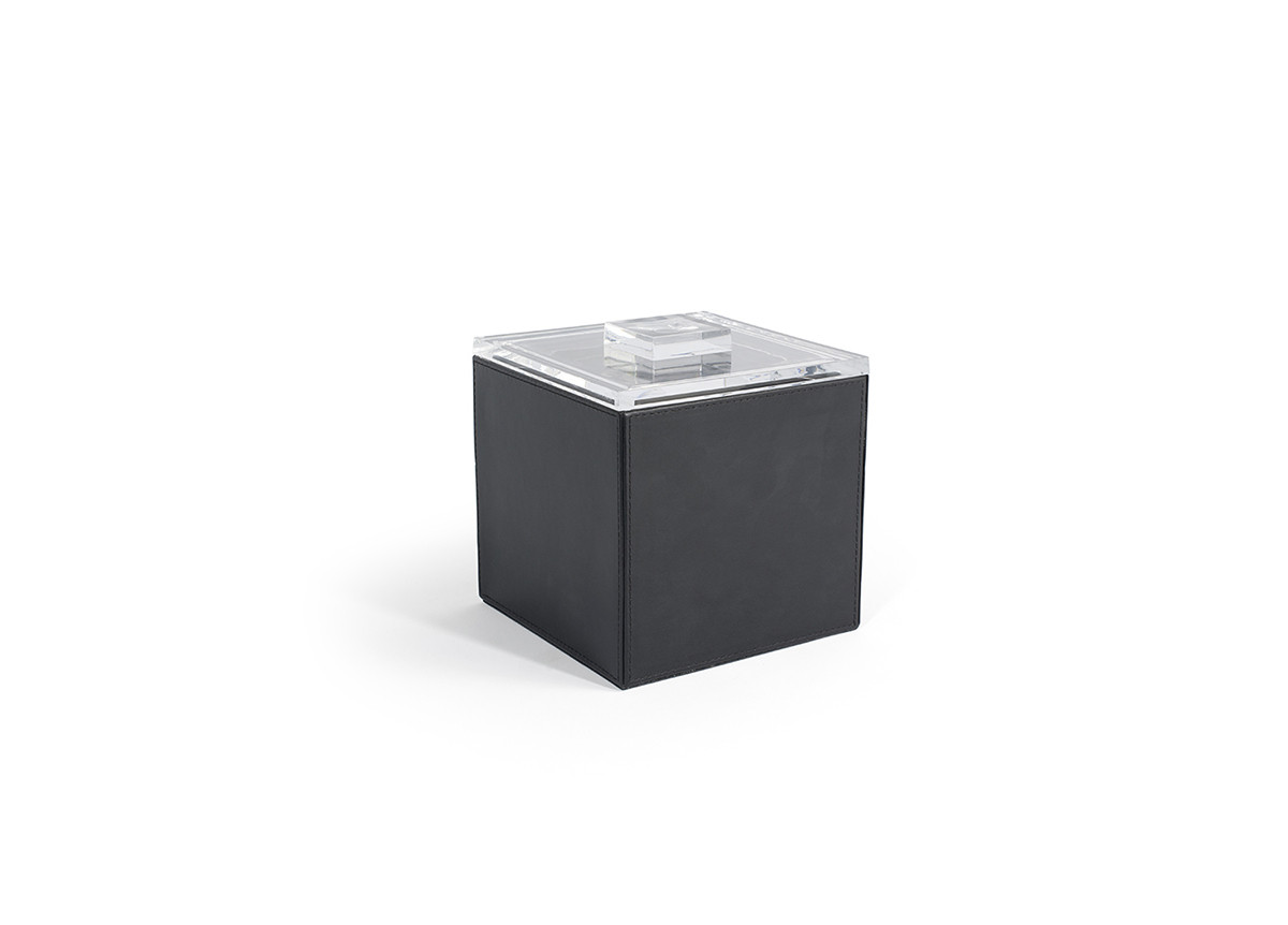 3.5qt Square London Ice Bucket - Black with Acrylic Lid