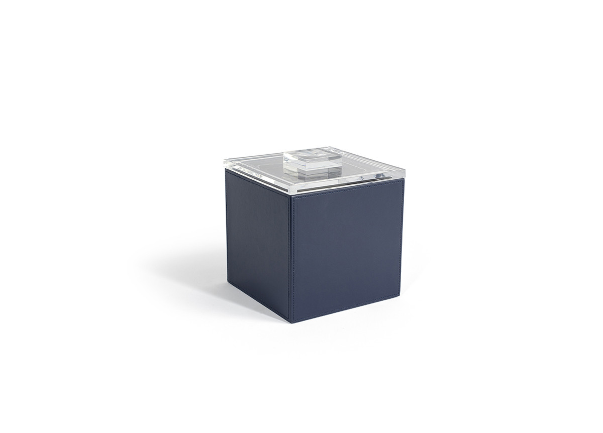 3.5qt Square London Ice Bucket - Navy with Acrylic Lid