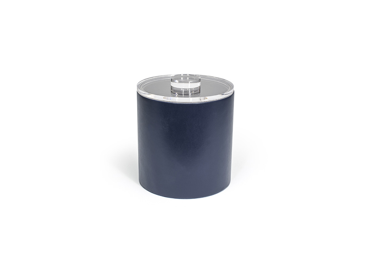 3.5qt Round London Ice Bucket - Navy with Acrylic Lid