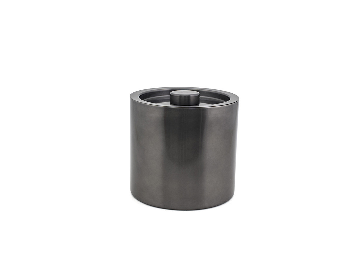 3qt Round Brushed Stainless Ice Bucket - Matte Black